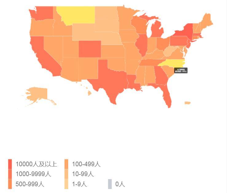 美国疫情最新动态分布图